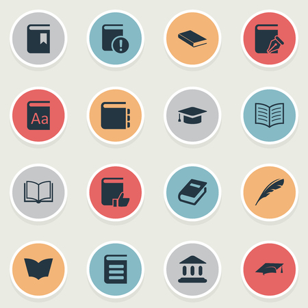 Vector Illustration Set Of Simple Books Icons. Elements Reading, Notebook, Notebook And Other Synonyms Sketchbook, Building And Book. Ilustrace