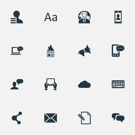 Vector Illustration Set Of Simple User Icons. Elements Cedilla, Laptop, E-Letter And Other Synonyms Message, Phone And Megaphone. Çizim