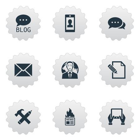Vector illustratie Set van eenvoudige bloggen pictogrammen. Elementen internationale zakenman, krant, argument en andere synoniemen potlood, nieuws en pen. Stockfoto - 77339119