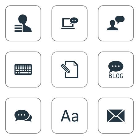 簡単なブログのアイコンのベクトル イラスト セット。要素の利得、ラップトップ、セディーユ、その他類義語利益交渉とタイポグラフィ。  イラスト・ベクター素材