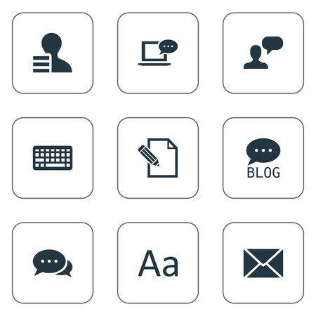 Vector Illustration Set Of Simple Blogging Icons. Elements Gain, Laptop, Cedilla And Other Synonyms Earnings, Negotiation And Typography.