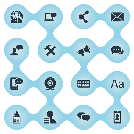 Vector Illustration Set Of Simple Blogging Icons. Elements Post, E-Letter, Man Considering And Other Synonyms Negotiation, Pencil And Loudspeaker. Illustration