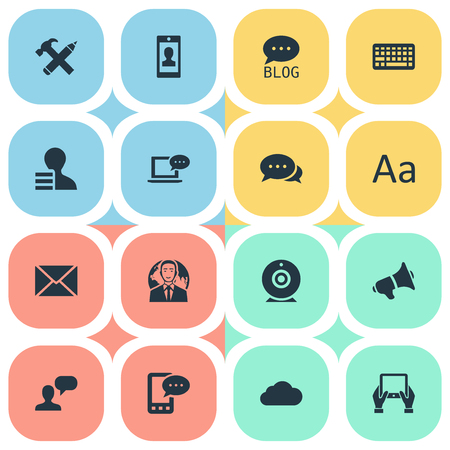 laptop repair: Vector Illustration Set Of Simple Blogging Icons. Elements Man Considering, Repair, Laptop And Other Synonyms Speaker, Negotiation And Epistle.