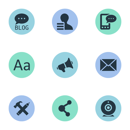 Vector Illustration Set Of Simple Blogging Icons. Elements Share, Gain, Site And Other Synonyms Message, Forum And Speaker.