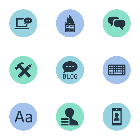 Vector Illustration Set Of Simple Newspaper Icons. Elements Gazette, Gossip, Cedilla And Other Synonyms Man, Hot And Keyboard.