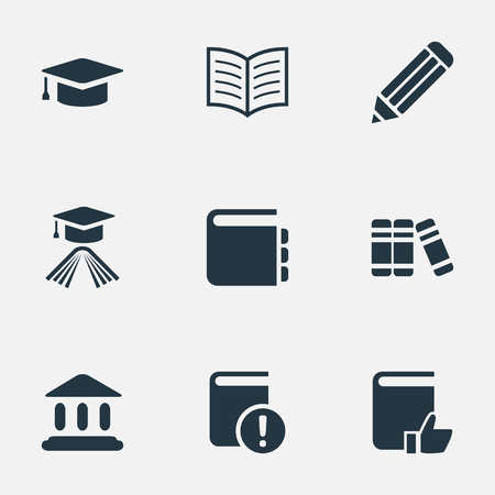 Vector Illustration Set Of Simple Education Icons. Elements Important Reading, Academic Cap, Recommended Reading And Other Synonyms Recommended, Writing And Book.