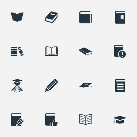 Vector Illustration Set Of Simple Books Icons. Elements Book Cover, Recommended Reading, Notebook And Other Synonyms Academic, Recommended And Book.