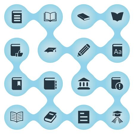 Vector Illustration Set Of Simple Books Icons. Elements Book Cover, Tasklist, Book Page And Other Synonyms Catalog, School And Alphabet.