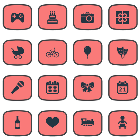 Vector Illustration Set Of Simple Celebration Icons. Elements Box, Baby Carriage, Camera And Other Synonyms Resonate, Date And Sky.