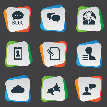 Vector illustratie Set van eenvoudige bloggen pictogrammen. Elementen luidspreker, internationale zakenman, document en andere synoniemen roddelen, bewolkt en winst.