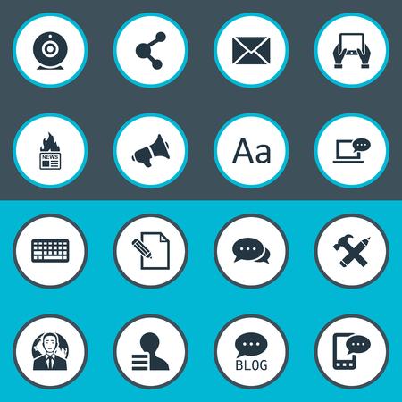 Vector illustratie Set van eenvoudige bloggen pictogrammen. Elements Cedilla, Gazette, Site en andere synoniemenpost, discussie en reparatie. Stock Illustratie