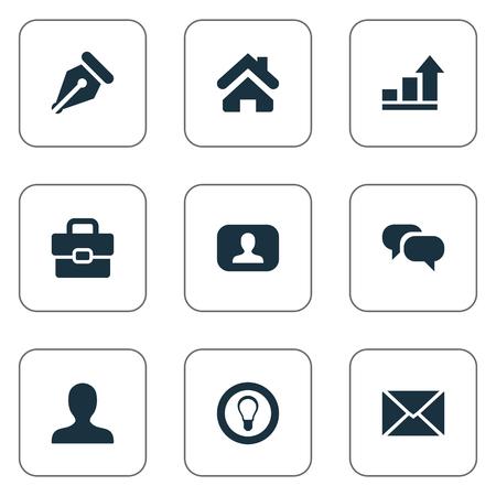 Illustration vectorielle définie des icônes simples de l'entreprise. Éléments de causerie, progrès, anonyme et autres synonymes Portfolio, interlocuteur et conversation. Banque d'images - 77339214