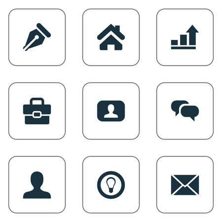 Vector Illustration Set Of Simple Business Icons. Elements Chatting, Progress, Anonymous And Other Synonyms Portfolio, Interlocutor And Talking. Illustration