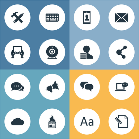 advantages: Vector Illustration Set Of Simple Blogging Icons. Elements Laptop, Gossip, Profile And Other Synonyms Overcast, Speaker And Conversation. Illustration
