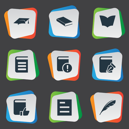 Vector Illustration Set Of Simple Books Icons. Elements Recommended Reading, Sketchbook, Notebook And Other Synonyms Note, List And Journal. Illustration