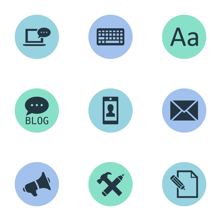 Vector Illustration Set Of Simple Blogging Icons. Elements Document, Profile, Site And Other Synonyms Man, Missive And Site. Illustration