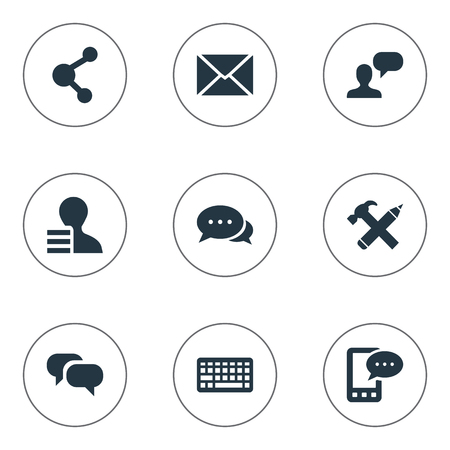 Vector Illustration Set Of Simple Newspaper Icons. Elements Argument, Gossip, Man Considering And Other Synonyms Profit, Speech And Conversation.