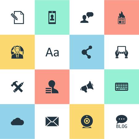 Vectorillustratiereeks Eenvoudige Gebruikerspictogrammen. Elementen Bewolkt, Document, Internationale zakenman en andere synoniemen overwegen, netwerk en missief.