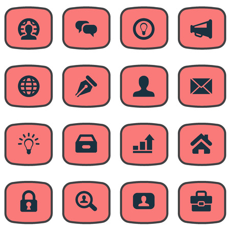 incorporate: Vector Illustration Set Of Simple Trade Icons. Elements Home, Representative, Inbox And Other Synonyms Progress, News And Home. Illustration