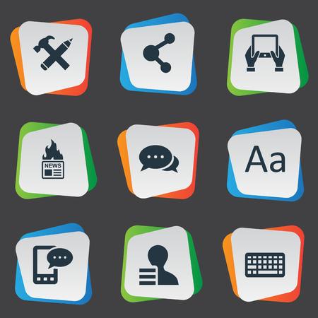 Vectorillustratiereeks Eenvoudige Gebruikerspictogrammen. Elementen Argument, Share, Cedilla en andere synoniemen Cedilla, Gain en Pencil.