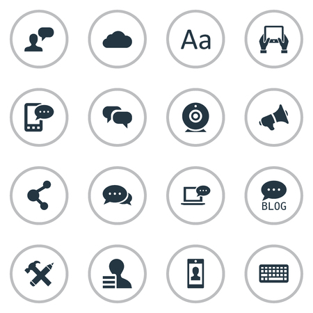 Vector Illustration Set Of Simple User Icons. Elements Broadcast, Repair, Loudspeaker And Other Synonyms Blog, Argument And Relation.