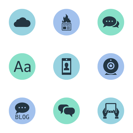 Vector Illustration Set Of Simple Blogging Icons. Elements Gossip, Overcast, Site And Other Synonyms Speech, Blog And Conversation.
