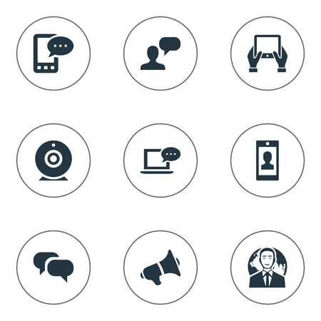 Vector Illustration Set Of Simple Newspaper Icons. Elements Notepad, Loudspeaker, Profile And Other Synonyms Conversation, Coming And Debate. Illustration