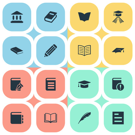 Vector Illustration Set Of Simple Knowledge Icons. Elements Tasklist, Library, Graduation Hat And Other Synonyms Important, Plume And Feather.