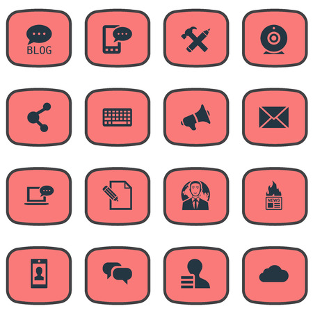 Vector Illustration Set Of Simple User Icons. Elements Profile, E-Letter, Post And Other Synonyms News, Profile And Broadcast.