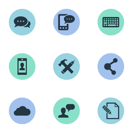 Vector Illustration Set Of Simple Newspaper Icons. Elements Share, E-Letter, Document And Other Synonyms Hammer, Sky And Overcast.