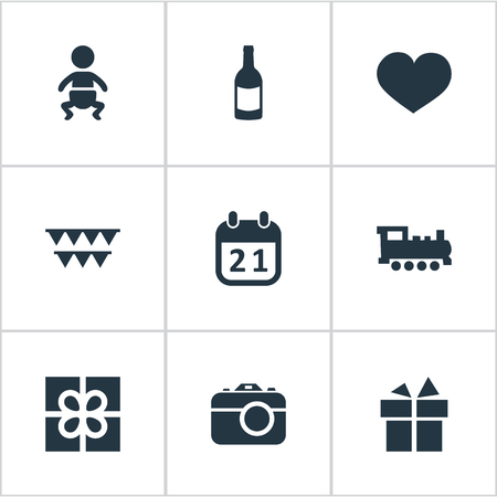 Vector Illustration Set Of Simple Holiday Icons. Elements Beverage, Camera, Special Day And Other Synonyms Train, Ribbon And Infant. Illustration