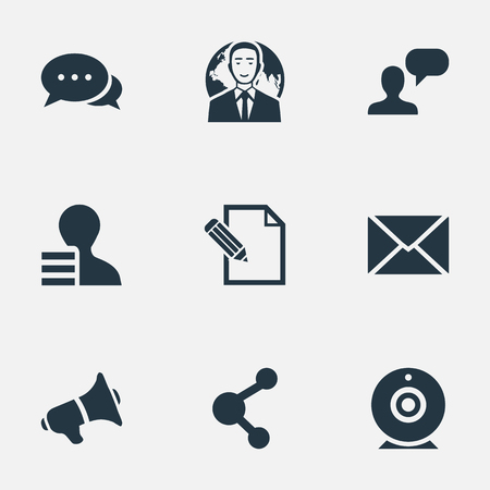 Vector Illustration Set Of Simple Newspaper Icons. Elements Loudspeaker, International Businessman, Document And Other Synonyms Discussion, Relation And Negotiation. Çizim