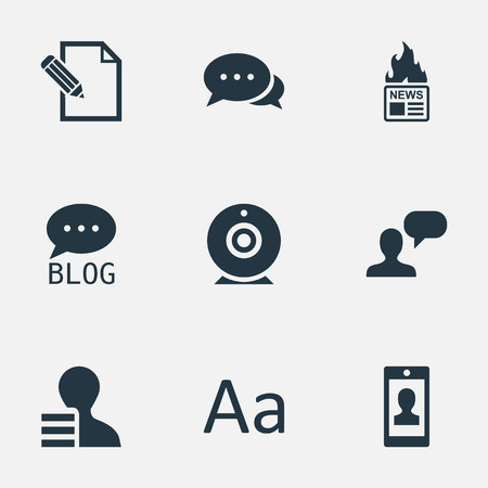 Vector Illustration Set Of Simple Newspaper Icons. Elements Broadcast, Gazette, Argument And Other Synonyms Negotiation, Site And Debate.