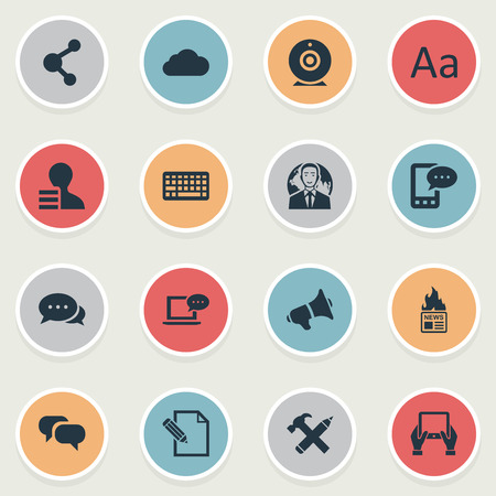Vector Illustration Set Of Simple Newspaper Icons. Elements Laptop, Gazette, International Businessman And Other Synonyms Profit, Earnings And Coming.
