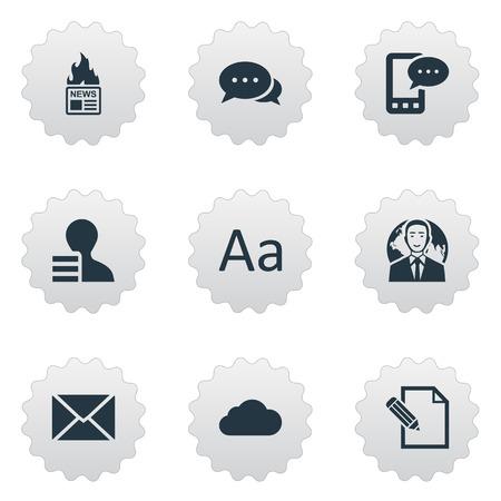 Vector illustratie Set van eenvoudige bloggen pictogrammen. Elements Bewolkt, e-brief, internationale zakenman en andere synoniemenwolk, argument en verhit. Stock Illustratie