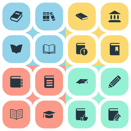 open notebook: Vector Illustration Set Of Simple Education Icons. Elements Notebook, Book Cover, Blank Notebook And Other Synonyms Book, Page And Sketchbook.