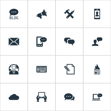 Vector Illustration Set Of Simple User Icons. Elements Keypad, Site, Post And Other Synonyms Keypad, Gazette And Writing. Illustration