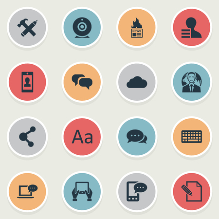 intercourse: Vector Illustration Set Of Simple Blogging Icons. Elements Keypad, Gain, Share And Other Synonyms E-Letter, Hammer And Relation.