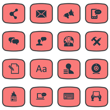 Vector Illustration Set Of Simple Newspaper Icons. Elements Post, Laptop, Share And Other Synonyms Hammer, Considering And Speaker. Illustration