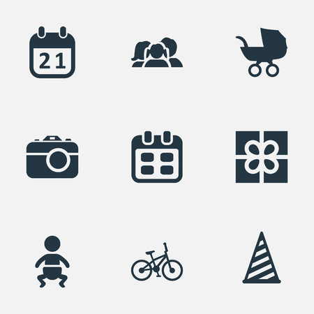 Vector Illustration Set Of Simple Birthday Icons. Elements Bicycle, Baby Carriage, Box And Other Synonyms Infant, Kid And Date.