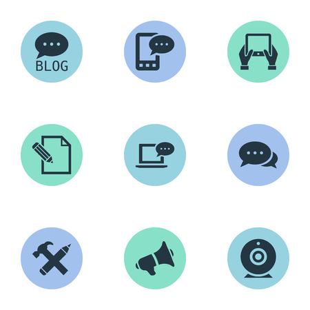 Vector illustratie Set van eenvoudige bloggen pictogrammen. Elementen Laptop, site, luidspreker en andere synoniemen Discussie, hand en blog. Stockfoto - 77339407