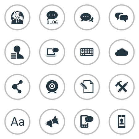 Vector Illustration Set Of Simple User Icons. Elements Laptop, Loudspeaker, International Businessman And Other Synonyms Earnings, Relation And Overcast.