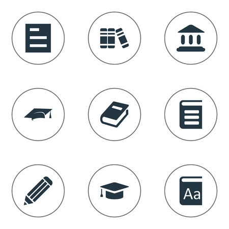 Vector Illustration Set Of Simple Books Icons. Elements Bookshelf, Pen, Encyclopedia And Other Synonyms School, Cap And Book.