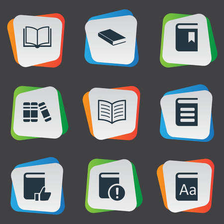 Vector Illustration Set Of Simple Knowledge Icons. Elements Recommended Reading, Important Reading, Notebook And Other Synonyms Bookshelf, Recommended And Important.