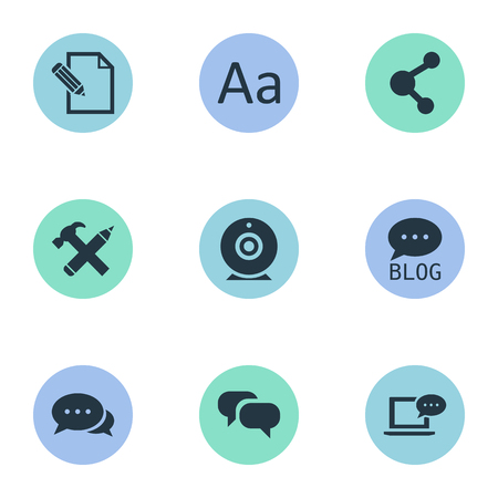 Vector Illustration Set Of Simple User Icons. Elements Gossip, Laptop, Cedilla And Other Synonyms Blog, Broadcast And Argument. Illustration