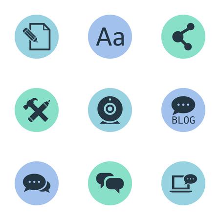 Vectorillustratiereeks Eenvoudige Gebruikerspictogrammen. Elementen Gossip, Laptop, Cedilla en andere synoniemen blog, uitzending en argument. Stockfoto - 77339426