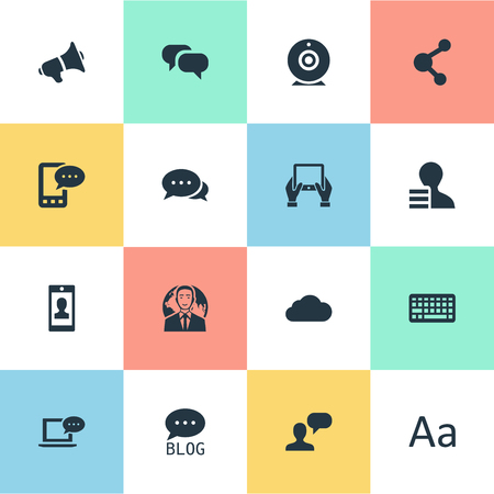 Vector Illustration Set Of Simple Newspaper Icons. Elements Laptop, Gain, Notepad And Other Synonyms Considering, Overcast And Argument. 向量圖像