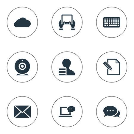Vector illustratie Set van eenvoudige bloggen pictogrammen. Elementenwinst, argument, bericht en andere synoniemen Bewolkt, hand en wolk. Stock Illustratie