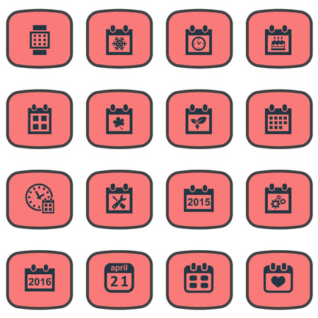 Vector Illustration Set Of Simple Calendar Icons. Elements Renovation Tools, Almanac, Deadline And Other Synonyms Block, Watch And Heart. Illustration