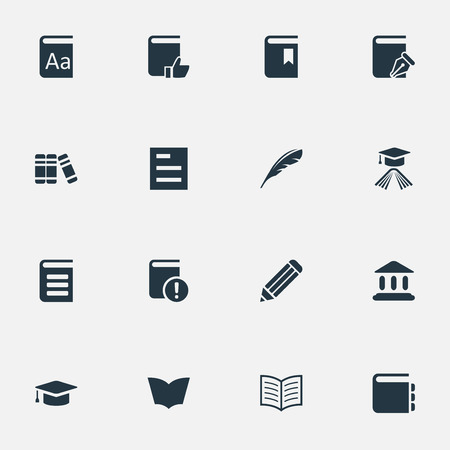 open notebook: Vector Illustration Set Of Simple Reading Icons. Elements Plume, Journal, Pen And Other Synonyms Academic, School And Sketchbook.